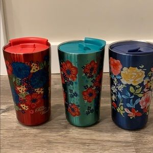 pioneer woman set of three floral tumblers